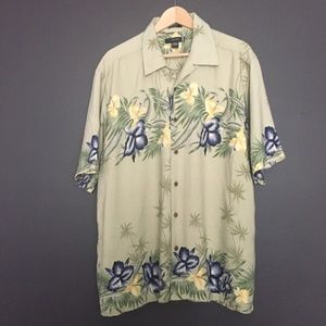 VISITOR Mens Silk Green Hawaiian Shirt XL